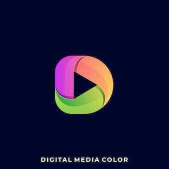Modelo de design de ilustração colorida play media