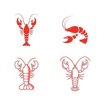 Modelo de design de ilustração de ícone de vetor de camarão