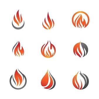 Modelo de design de ilustração de ícone de vetor de fogo chama quente