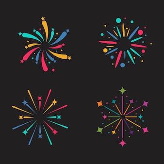 Modelo de design de ilustração de ícone de vetor de fogos de artifício
