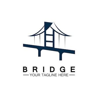 Modelo de design de ilustração de ícone de vetor de logotipo de ponte