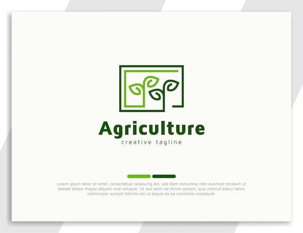 Modelo de design de ilustração de logotipo de planta de broto de agricultura