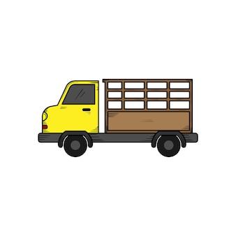 Modelo de design de ilustração de mão desenhada de caminhão de fazendeiro isolado
