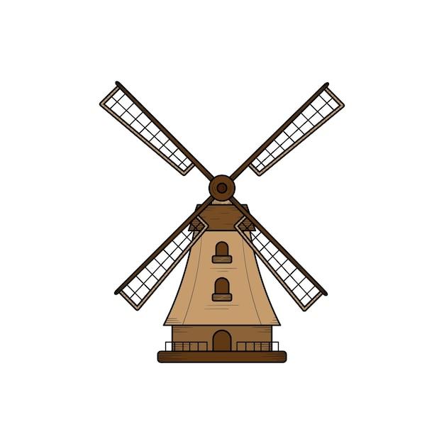 Modelo de design de ilustração de mão desenhada de fazenda moinho de vento isolado