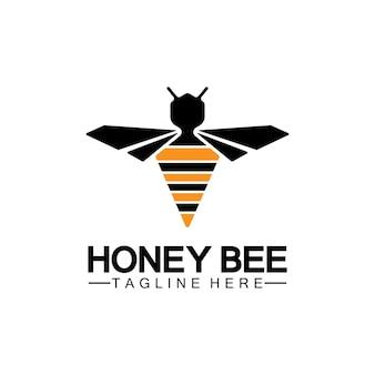 Modelo de design de ilustração de símbolo de ícone de logotipo de mel de abelha