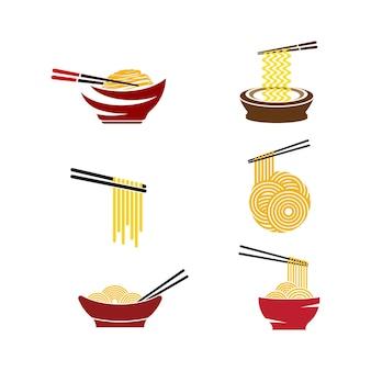 Modelo de design de ilustração de símbolo de sinal de comida de macarrão