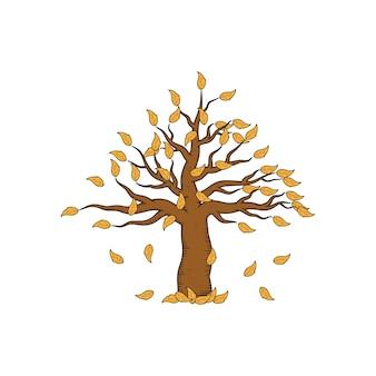 Modelo de design de ilustração desenhada à mão de árvore morta sem folhas isolado