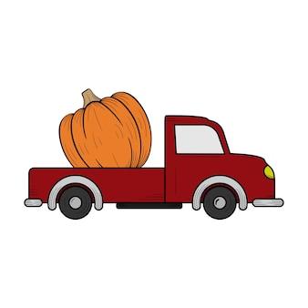 Modelo de design de ilustração desenhada à mão de caminhão de abóbora isolado