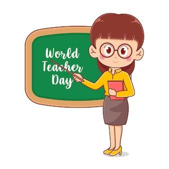 Modelo de design de ilustração feliz dia dos professores com personagem