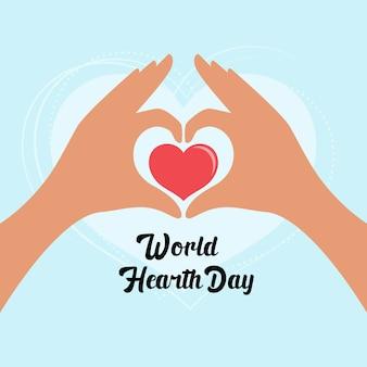Modelo de design de ilustração para dia mundial do coração