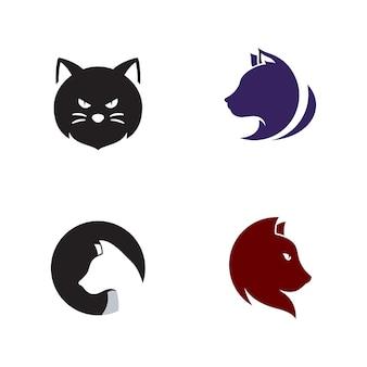 Modelo de design de ilustração vetorial de design de ícone de gato