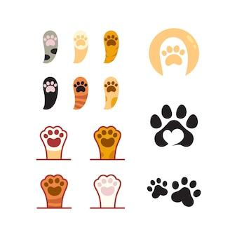 Modelo de design de ilustração vetorial de design de logotipo de pata