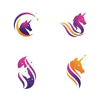 Modelo de design de ilustração vetorial de ícone de logotipo de unicórnio