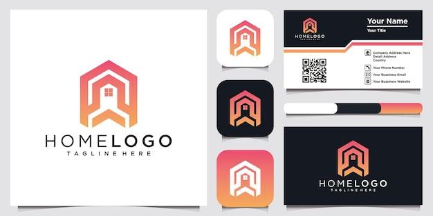 Modelo de design de ilustração vetorial de ícone de logotipo para casa e cartão de visita