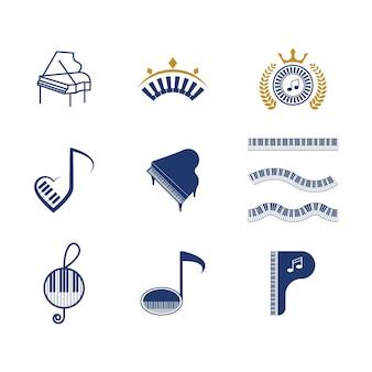 Modelo de design de ilustração vetorial de ícone de música de piano