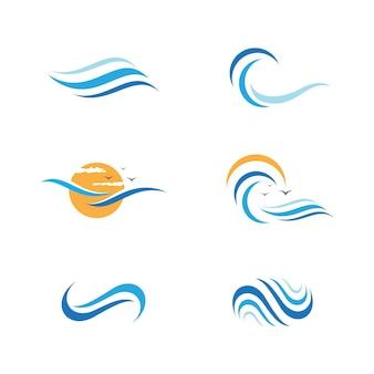 Modelo de design de ilustração vetorial de ícone de onda de água