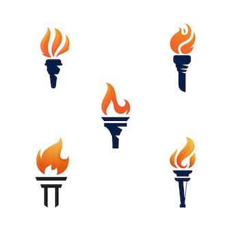 Modelo de design de ilustração vetorial de ícone de tocha