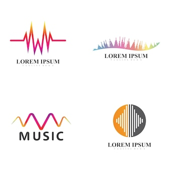 Modelo de design de ilustração vetorial de ondas sonoras