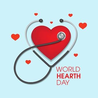Modelo de design de ilustração vetorial para dia mundial do coração