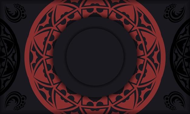 Modelo de design de impressão de cartão postal com ornamentos gregos. banner de vetor preto e vermelho com enfeites de luxo para seu logotipo.