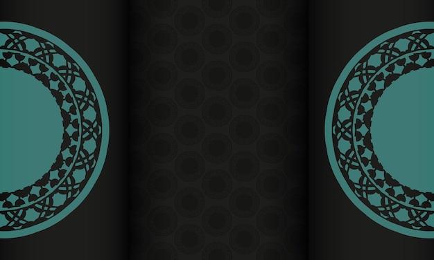 Modelo de design de impressão de cartão postal com padrões abstratos. banner de vetor preto com ornamentos azuis gregos e lugar para o seu texto e logotipo.