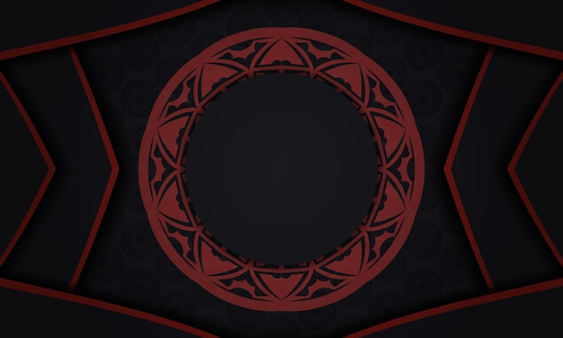 Modelo de design de impressão de cartão postal com padrões gregos. banner de vetor preto e vermelho com enfeites de luxo e lugar para o seu texto e logotipo.