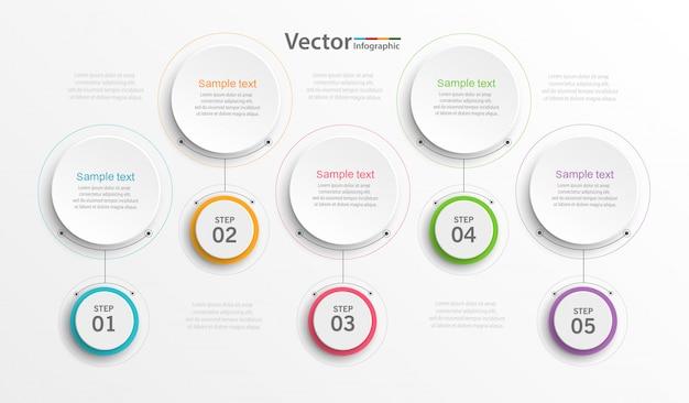 Modelo de design de infografia com 5 etapas ou opções