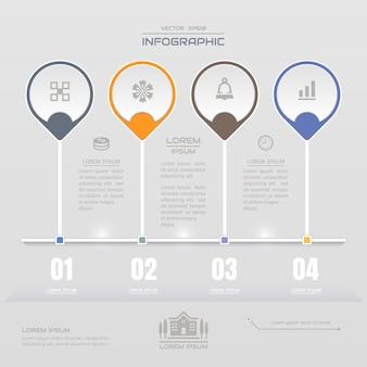 Modelo de design de infografia com ícones