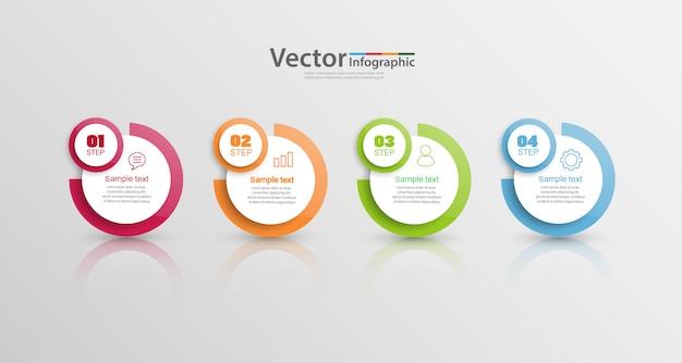 Modelo de design de infografia, conceito de estrutura de tópicos com 4 etapas ou opções