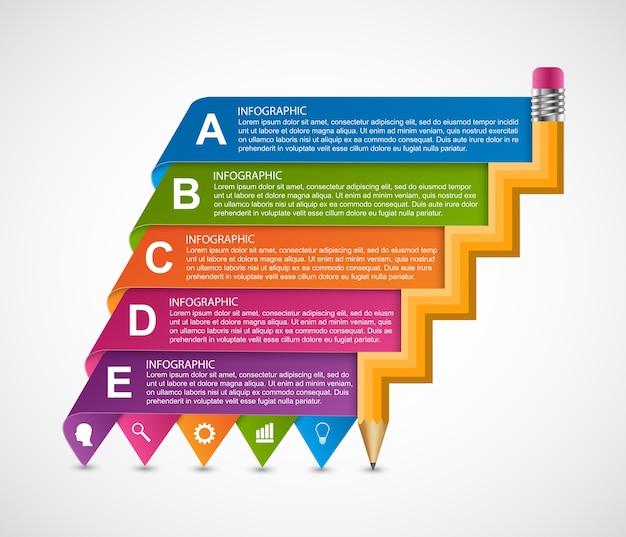 Modelo de design de infografia de educação.