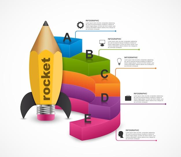 Modelo de design de infografia de opção de educação.