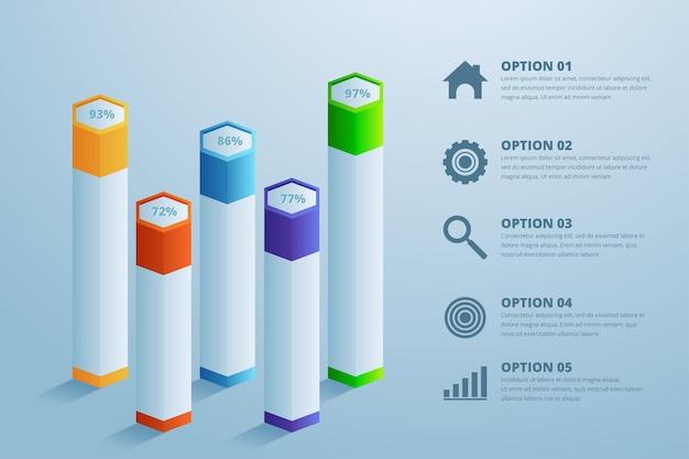Modelo de design de infográfico 3d e ícones de marketing