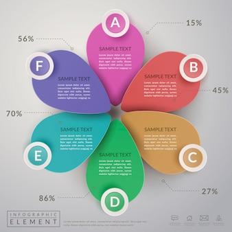 Modelo de design de infográfico adorável com elemento de faixa de opções