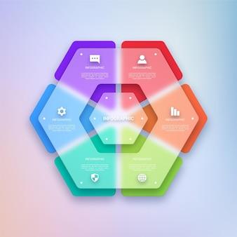 Modelo de design de infográfico colorido e transparente