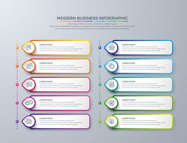Modelo de design de infográfico com 10 opções de processo ou etapas