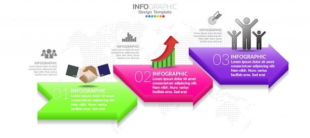 Modelo de design de infográfico com 3 opções de cores.