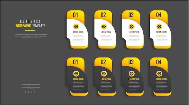 Modelo de design de infográfico com 4 opções de design moderno de infográfico de negócios