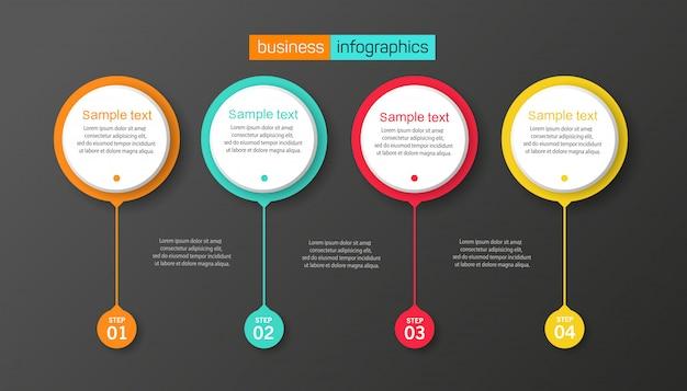 Modelo de design de infográfico com 4 opções ou etapas