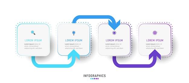 Modelo de design de infográfico com 4 opções ou etapas.