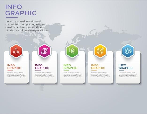 Modelo de design de infográfico com 5 opções ou etapas
