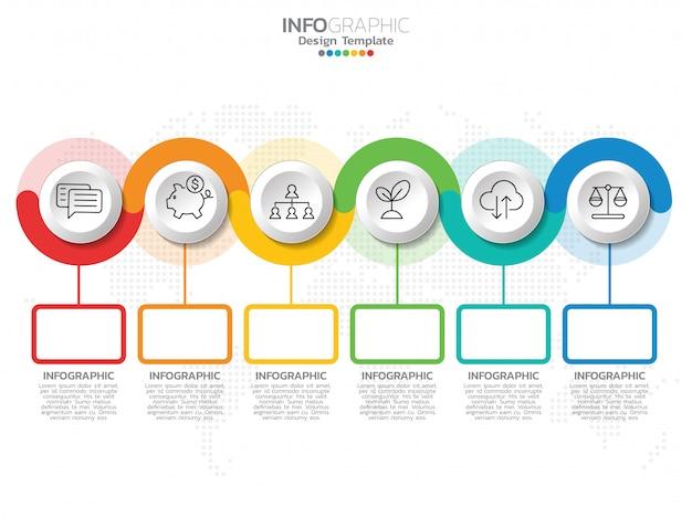 Modelo de design de infográfico com 6 opções de cores.