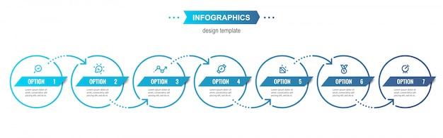 Modelo de design de infográfico com 6 opções ou etapas.