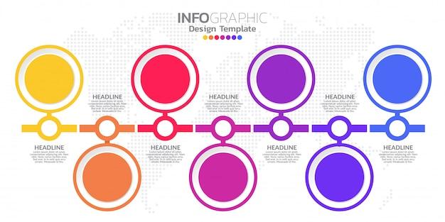 Modelo de design de infográfico com 7 opções de cores.