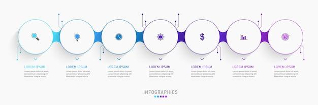 Modelo de design de infográfico com 7 opções ou etapas.