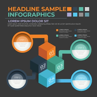 Modelo de design de infográfico com caixa e círculo
