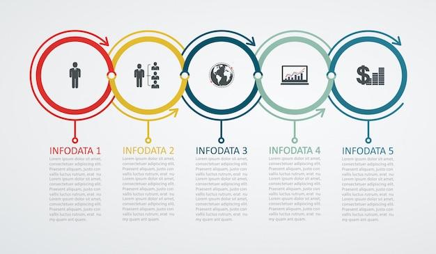 Modelo de design de infográfico com estrutura de 5 passos, seta para cima. conceito de sucesso de negócio, linhas de gráfico de pizza.
