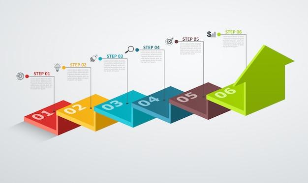 Modelo de design de infográfico com estrutura de etapa até seta, conceito do negócio com 6 opções de peças.