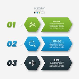 Modelo de design de infográfico com etapa ou opção