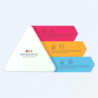Modelo de design de infográfico com ícones de linha fina e 3 opções, processos ou etapas.