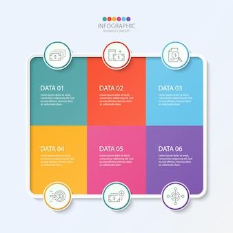 Modelo de design de infográfico com ícones de linha fina e 6 opções, processos ou etapas.